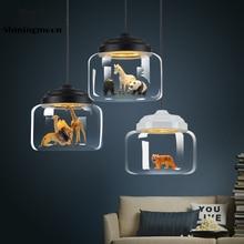 цена на Nordic Art   Pendant Lights Modern Animal Decor Glass Pendant Lamp Minimalist Bar Cafe Hanging Lamp Bedroom Dining Room Lighting
