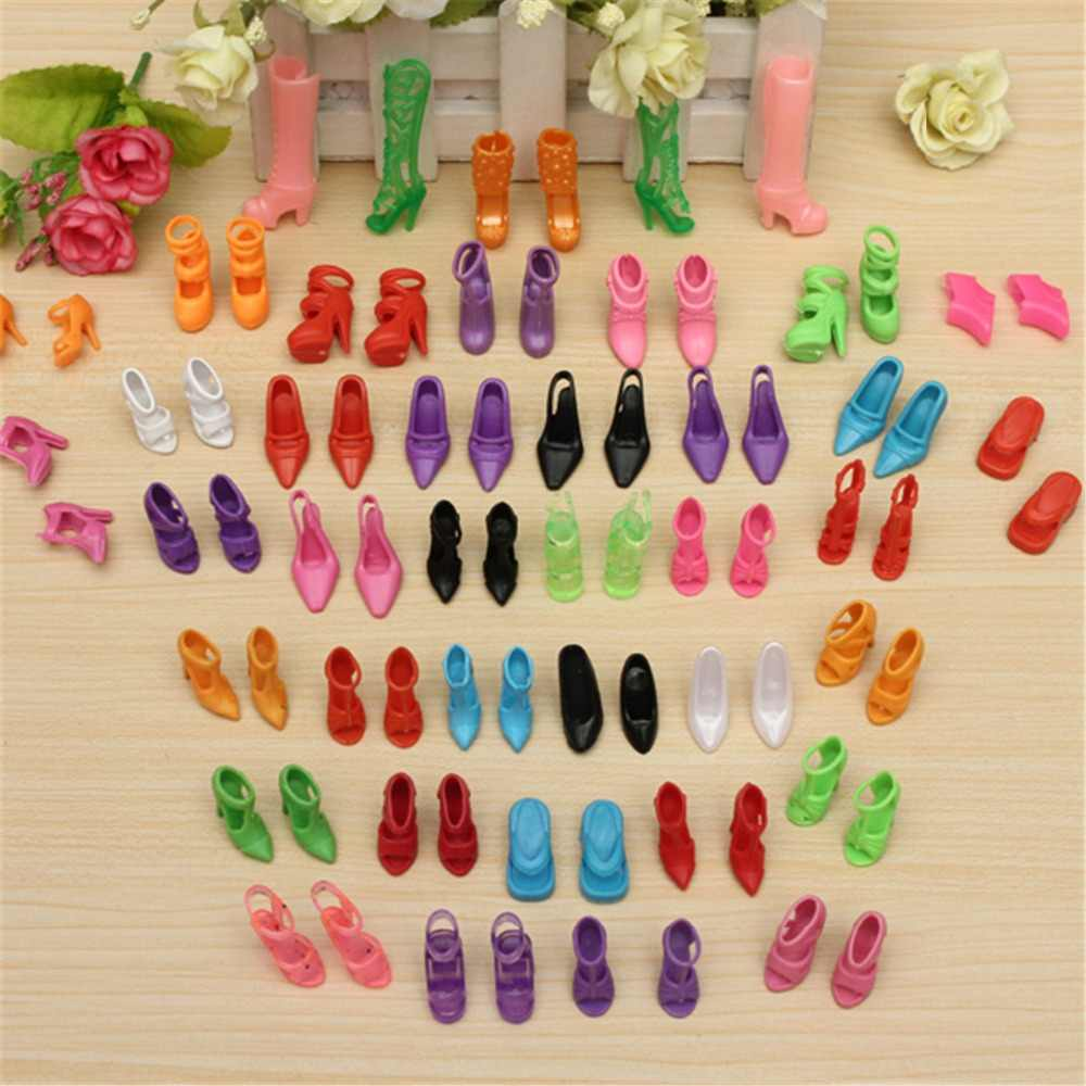 40 Pairs 80pcs Doll Shoes Fashion Cute Colorful Assorted Shoes Kit For Barbie Doll With Different Styles Baby Toy  Accessories
