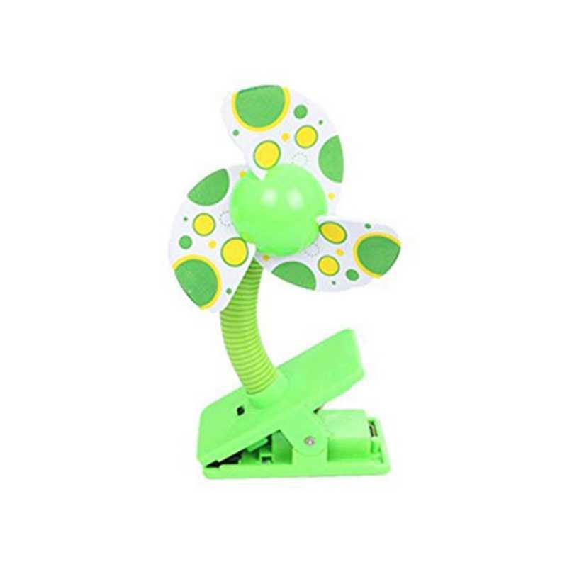 Clip-on con Mini ventilador de cochecito USB para cunas de bebé Corrales (verde)