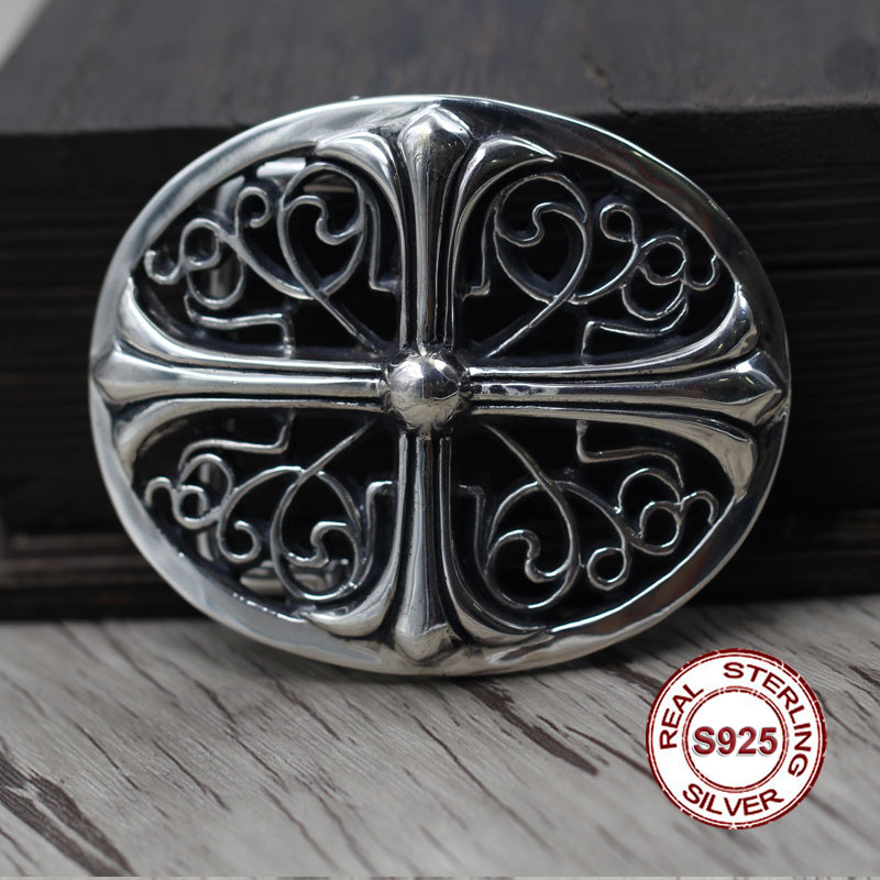 S925 Sterling Silver Belt Buckle Retro Personality Hip-hop Cross Unique Belt Buckle Thai Silver To Create Punk Style Send Lover