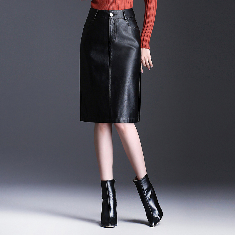 Large Size Leather Skirt Female Long Section Skirt 2019 Autumn And Winter New High Waist Was Thin Pencil Bag Hip Skin Skirt W798