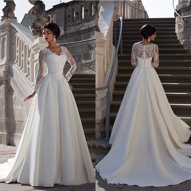2020 New V Neck Wedding Dresses Long Sleeve Luxury Wedding Gown Lace Top Satin Bridal Dress Vintage Robe De Mariage Plus Size