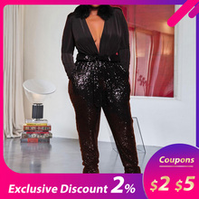 Sexy Deep V Neck Black Sequins Party Night Club Long Jumpsuit Oversized XL-5XL P