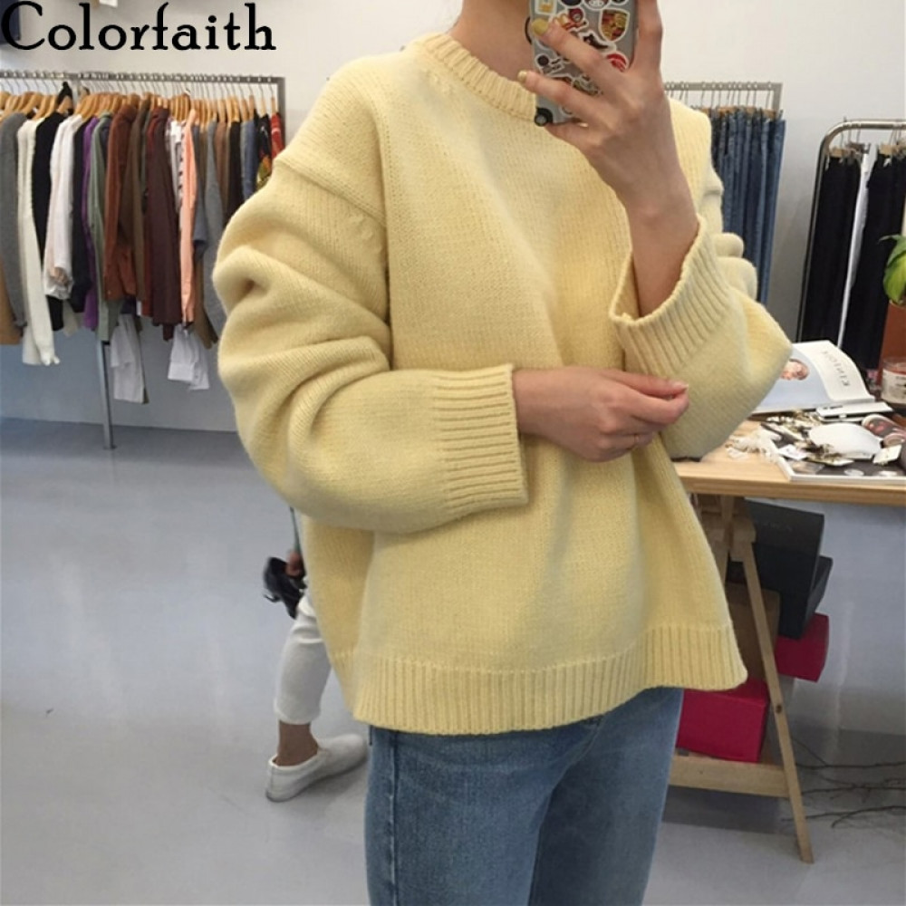 Colorfaith 2021 Pure Cotton Winter Spring Women Sweater Pullovers Minimalist Oversize Knitted Elegant Ladies Jumpers SW1923