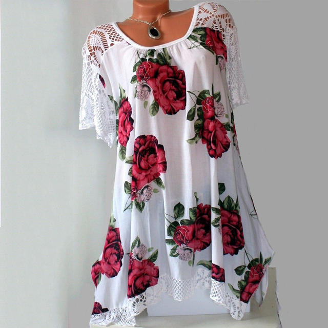 2021 new Women's Fashion Oversize Lace Floral Print Short Sleeve Casual Asymmetrical A Line Cotton Tunic S-5XL 1