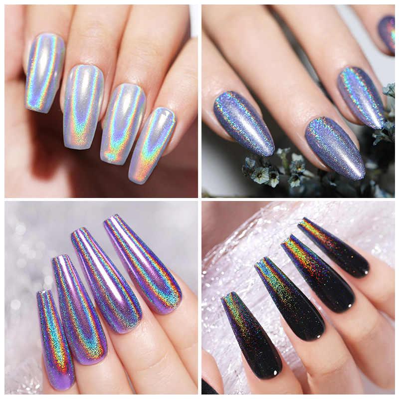 Polvo Holográfico Láser Uñas Plateadas Brillo Polvo De Uñas Cromo Deslumbrante Brillo Gel Esmalte Escamas Para Pigmento De Manicura