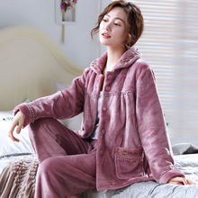 Thick Warm Flannel Women Pajamas Sets Winter Coral Female Pyjamas Sleepwear Home Clothing Womens Suit