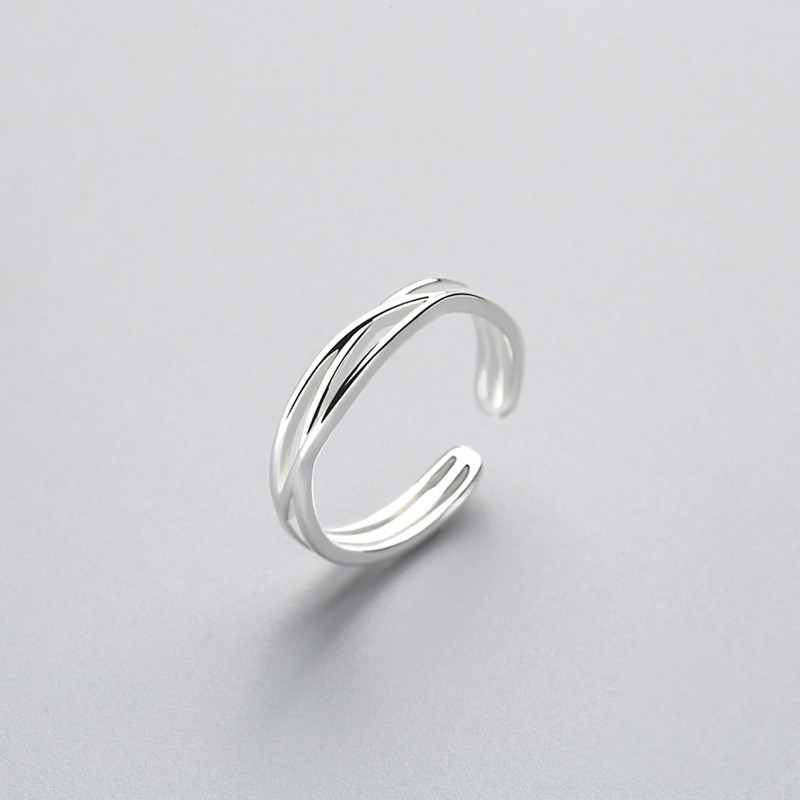 Minimalist Geometric Twist Line Adjustable Ring Authentic 925 Sterling Silver Fine Jewelry For Women Accessories Gift