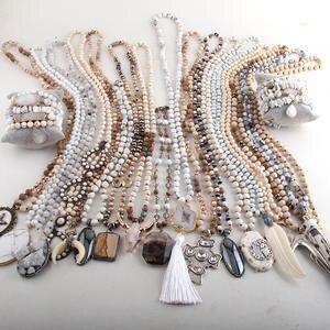 Handmade Women Boho Jewelry Bohemian Necklaces Gift Necklace/bracelet-Set White Wholesale