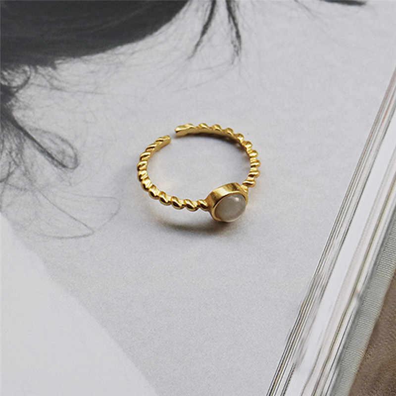 Inzatt Nyata 925 Sterling Perak Bulat Cincin Batu untuk Fashion Wanita Trendy Punk Perhiasan Minimalis Aksesoris 2019 Hadiah