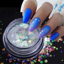 Paillettes holographiques pour ongles, pour décoration de manucure, sirène, aurore, flocons, étoile, cœur, AB
