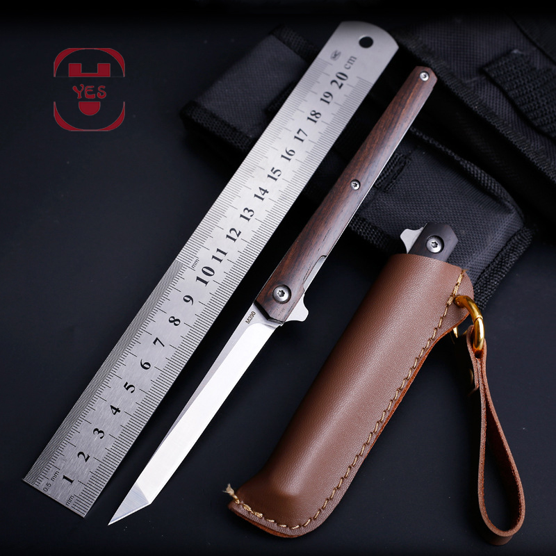 M390 Steel Fold Knife CS Go Portable Pocket Solid Wood Folding Knife Camping Hunting Knife Slicing Fruit Knives  OutdoorTool EDC