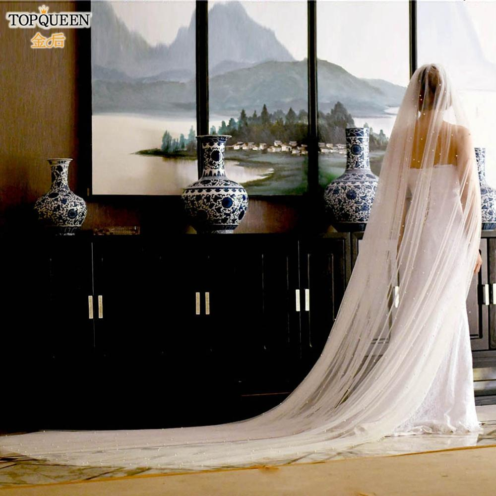 TOPQUEEN V09 Soft Bridal Veils Cathedral Pearl Long Veil Wedding 1 Tier Cute Edge Bridal Wedding Veil ivory Beaded Veil