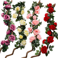 Artificial Green rose flower Rattan artificial Fake Plants vine GardenWedding Festival Decoration fake cirrus