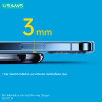 USAMS 15W Wireless Charger For iPhone 12 11 Pro Xs Max Mini X Xr 8 Glass Induction Fast Charging Pad For Samsung Xiaomi Earbuds