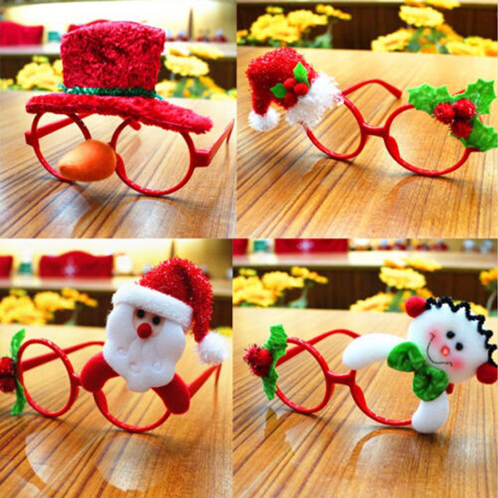 Funny Christmas Glasses Novelty Party Dress Santa Claus Rabbit Hats Eyeglasses Frame Christmas Decoration Kids Children Gifts