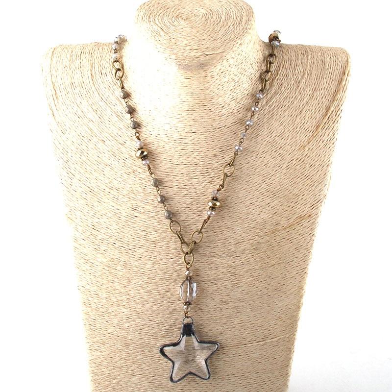 Модные богемные ювелирные изделия Античный камень цепочка со стразами кристалл кулон ожерелье s для женщин национальное ожерелье - Окраска металла: 4