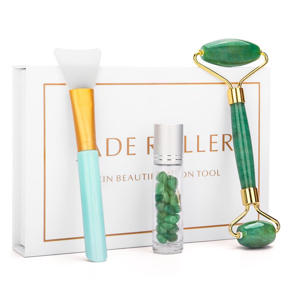 3 In 1 Natural Jade Facial Eye Roller Rose Quartz Stone Facial Massager Anti Aging Green Jade Facial Roller With Face Mask Brush