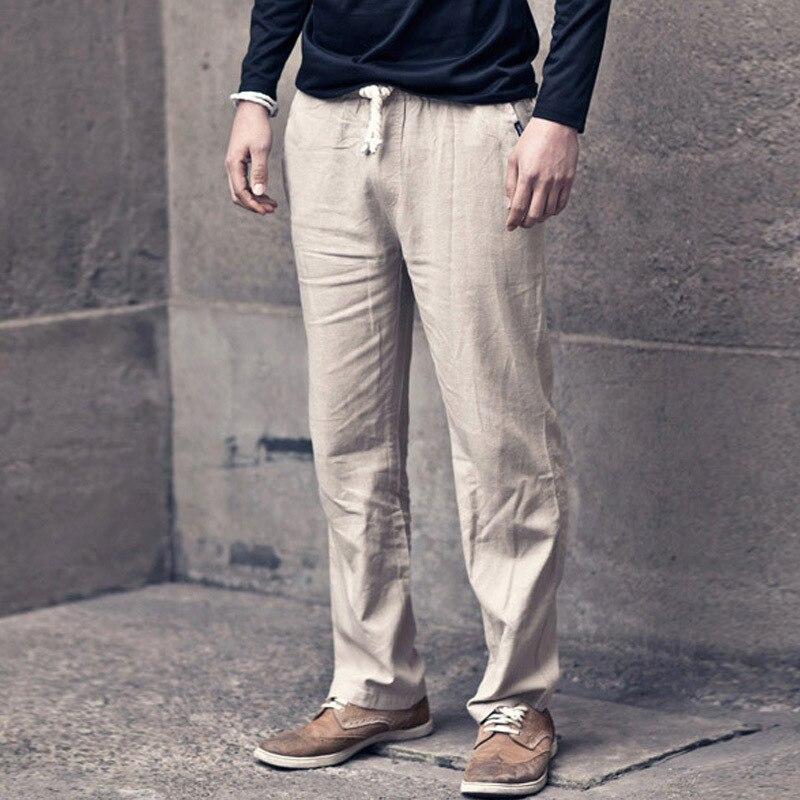 Beach Shorts Activity-Linen Pant Casual Cotton Linen Men Breathable Men's Sub-Linen Pant Large Size
