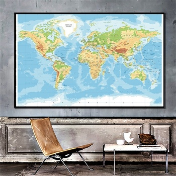 Unframe World Map Large Classic Edition World Wall Maps 150*100cm Posters and Prints Wall Art Painting Education Supplies world in maps