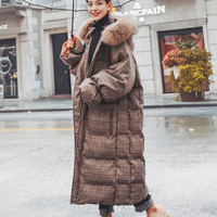 2019 Winter Jacket Women's Quilted Large Size Plaid Long Coat Female Fur Collar Thick Warm Cotton Jacket Hooded Hood Clothing P1