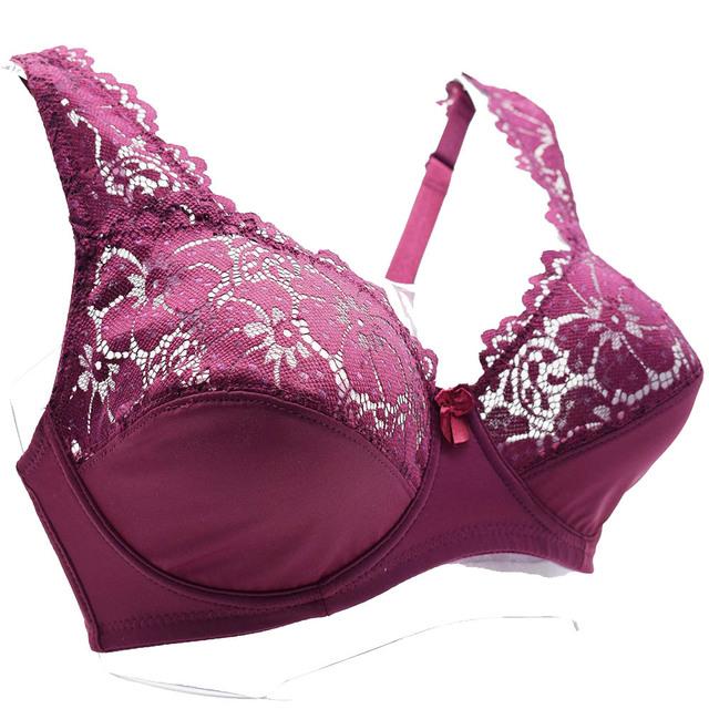 Women Plus Size Bra Breathable Sexy Lingerie Perspective Brassiere Floral Lace Bras Unlined Underwire Bralette Female Underwear