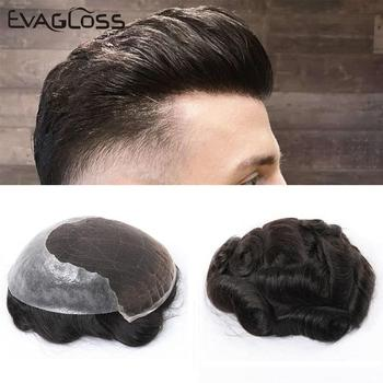 EVAGLOSS Mens Toupee French Lace Thin PU Remy Human Hair Men's Wig Hair Pieces Unit Hair System for Man Hair Prosthesis Male Wig