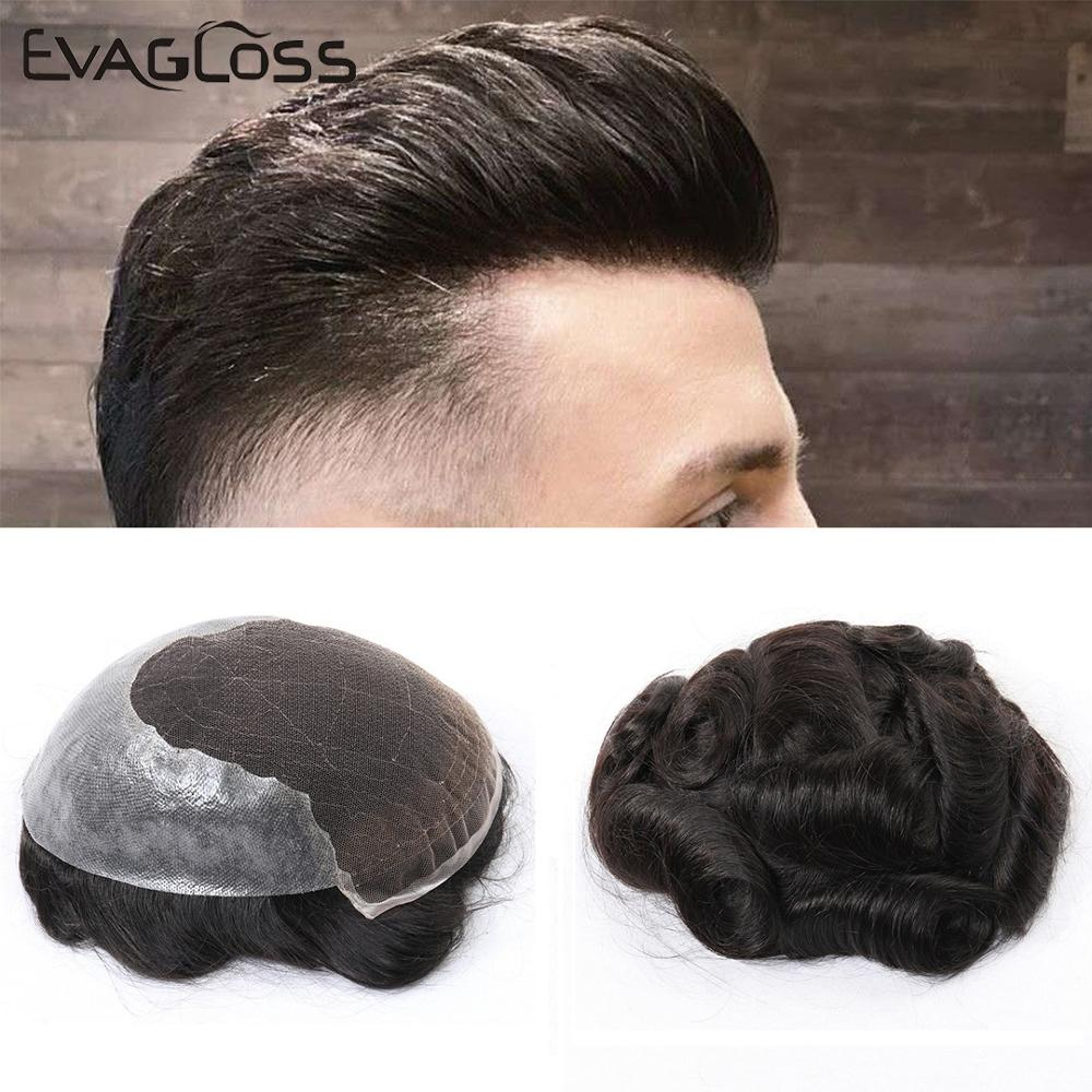 EVAGLOSS Mens Toupee Swiss Lace Thin PU Remy Human Hair Men's Wig Pieces Unit Hair System Replacement Prosthesis For Male Wig