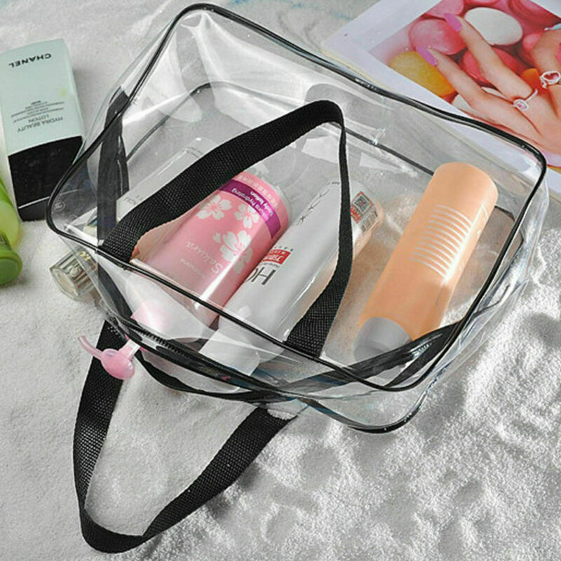 <font><b>Set</b></font> of <font><b>3</b></font> Clear Makeup <font><b>Bag</b></font> Cube PVC Transparent Women Fashion Handbag Waterproof <font><b>Cosmetic</b></font> Makeup <font><b>Travel</b></font> Storage Toiletry <font><b>Bag</b></font> image