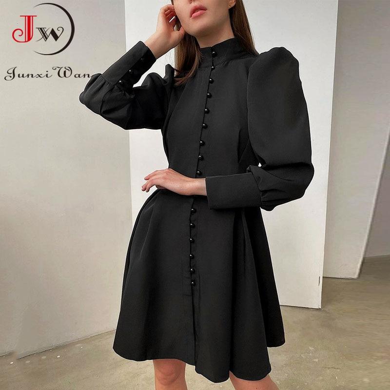 2021 New Puff-Sleeve Elegant Party Dress Women Solid Turtleneck Collar Ladies Streetwear Black Solid Button Mini Dresses Vestido 3