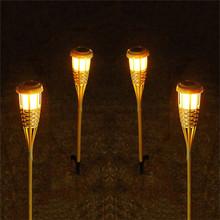 2 sztuk partia rzemieślnicze bambusa lampa na zewnątrz IP65 zasilany energią słoneczną lampa LED efekt płomienia użytki zielone ogród Lawn #8230 tanie tanio KH-LITEC Handcraft Bamboo Lamp 1 year ROHS Solar torch light bamboo lamp Brak Żarówki led Nowoczesne Awaryjne Bateria litowa