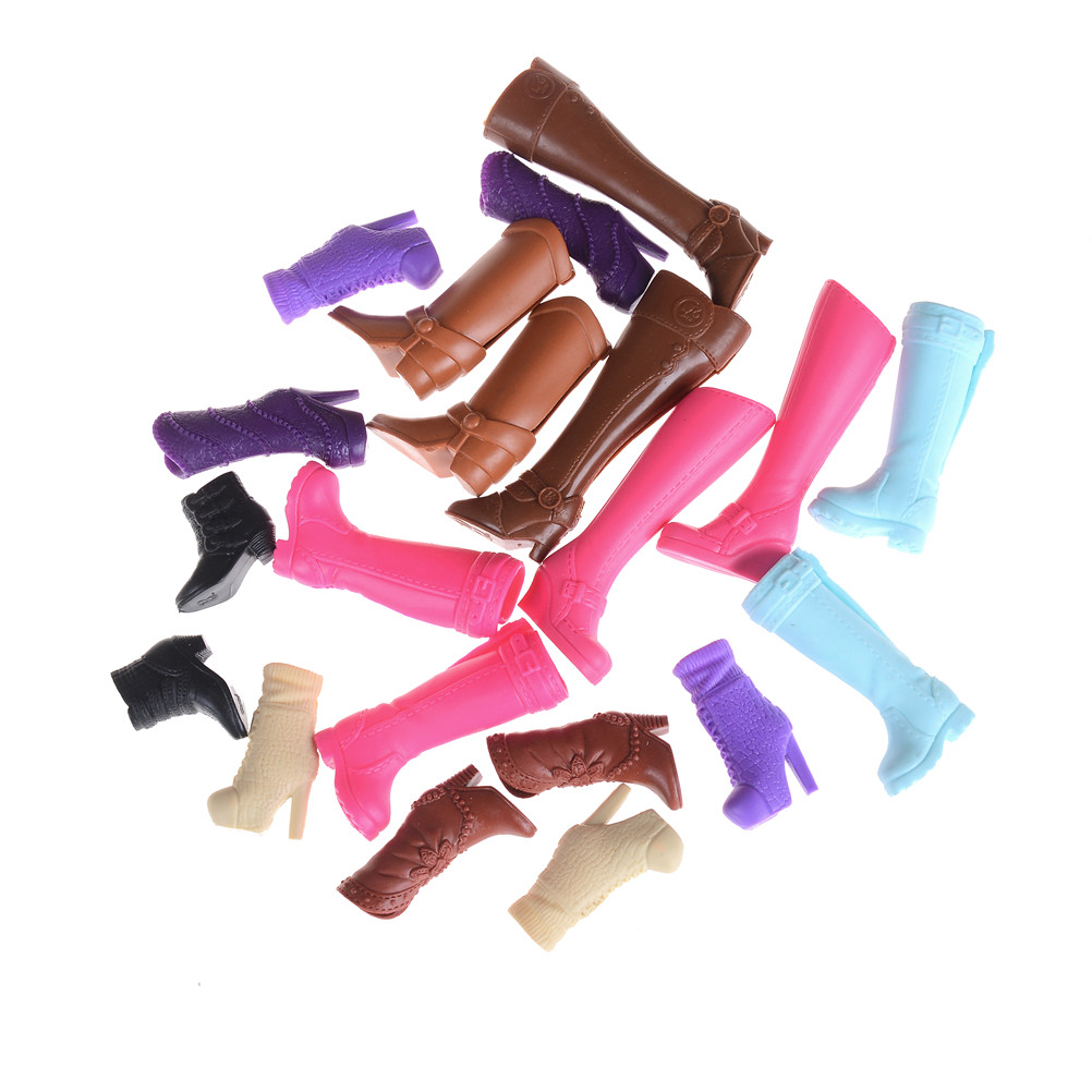 Fashion Colorful Boots Assorted Casual High Heels Long Barrel Cute Shoes Clothes For Doll Accessories Toys Mixed Style 1 Pair