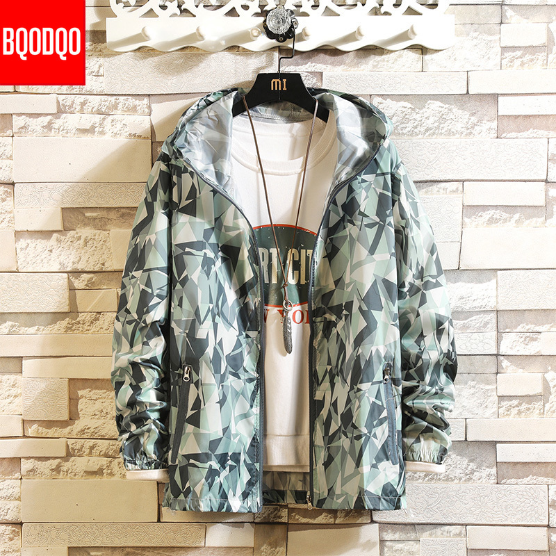 Camouflage Print Streetwear Jackets Coat For Men Autumn Baggy Breathable Sun-proof Clothing Rib Sleeve Casual Sweatshirt Male
