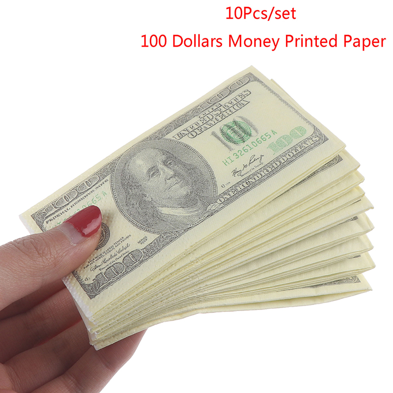 High Quality 10 Pcs/Set Creative Funny 100 Dollars Money Printed Paper Napkins Thick Toilet Tissue Paper Party Supplies