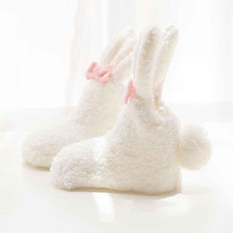 Детские носки коралловые бархатные толстые объемные милые носки для новорожденных девочек с кроликом