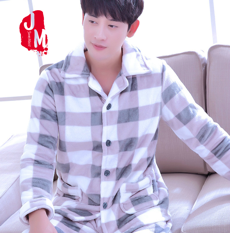 2019 New Winter Pajamas Men Thick Fleece Pajama Sets Luxury Warm Sleepwear Plaid Suits Man Casual Home Clothes Pijama Sleep XXXL