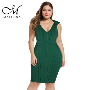 Maketina 2020 Women V Neck Plus Size Bandage Dress Summer Sexy Elegant Green Bandage Dress Sexy Party Plus Size Bodycon Dress new fashion plus size women s green green dress korean version of summer slim green dress 2126