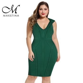 Maketina 2020 Women V Neck Plus Size Bandage Dress Summer Sexy Elegant Green Party Bodycon