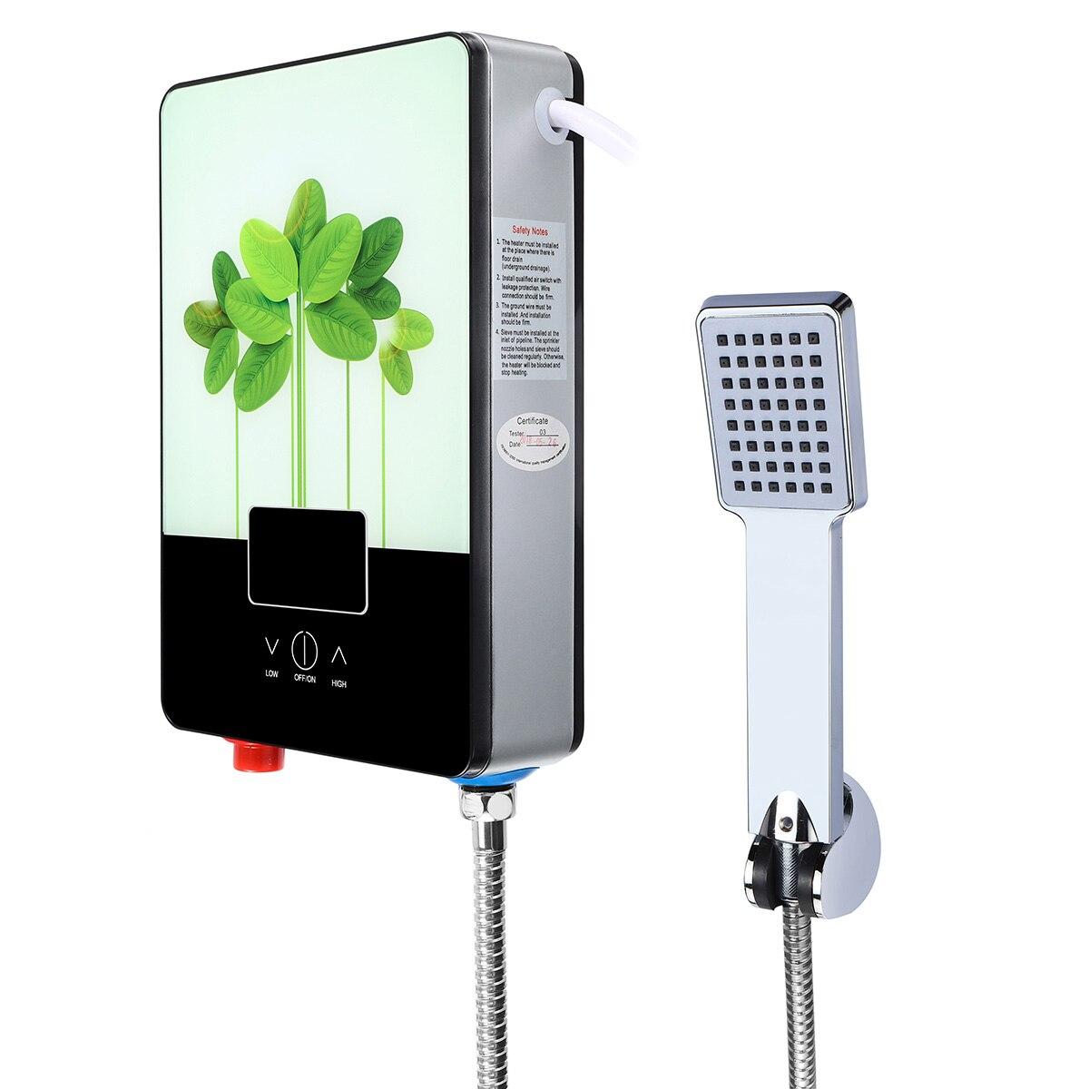 6500W Electric Hot Water Heater Tankless Shower+Shower Head+Hose Kit 220V Tankless Instant Boiler Kitchen Bathroom Shower Set