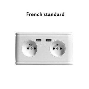 Image 3 - USB הכפול יציאת חשמל קיר מטען מתאם כוח שקע גרמנית/צרפתית 2AC לשקע פנל צלחת שקע