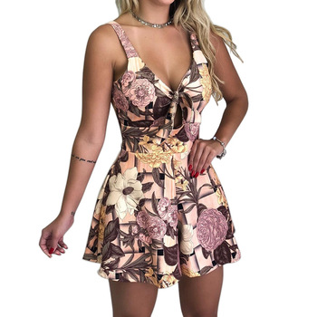 Sexy Playsuit Flower Print Bodycon Women Front Knot Deep V Neck Vintage Bohemian Mini Playsuits Open Chest Jumpsuit Sleeveless sexy satin v neck cross front straps playsuits in pink