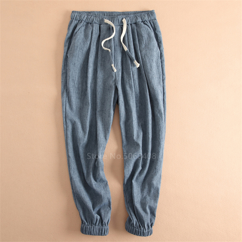Male Oriental  Leggy Pants Chinese Style Plus Size Cotton Linen Trousers Man Summer Japanese Elastic Waist Harem Pants Kung Fu