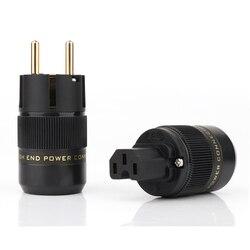 Wysokiej jakości P-078E 24K pozłacane Schuko zasilanie prądem zmiennym wtyczka + C-078 złącze zasilania IEC hifi adapter mocy ue