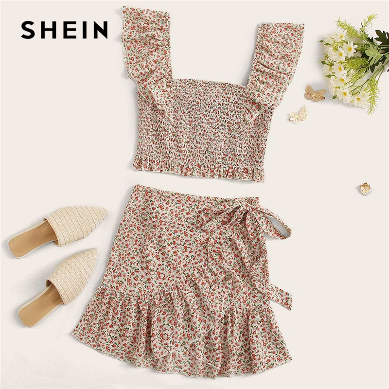 SHEIN Ruffle Trim Shirred Ditsy Floral Cami Top And Wrap Knotted Skirt Set Women Summer Bohemian Slim Fitted Two Piece Sets