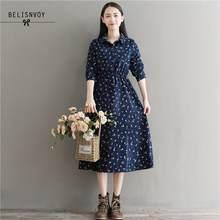 2020 nova primavera outono feminino midi veludo vestido turn-down collar folha impresso vestidos longo mori menina do vintage doce vestido