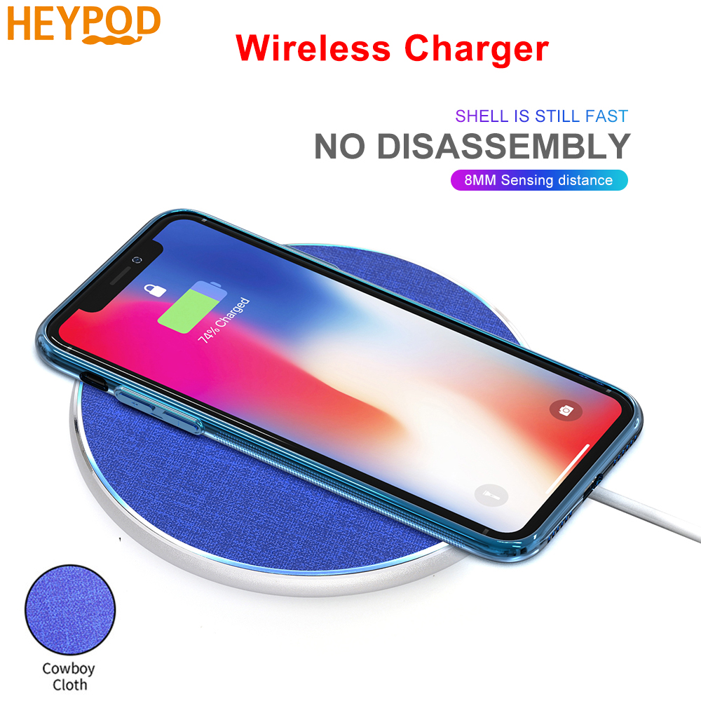 HEYPOD Wireless Charger For iPhone 11 X XR 8 plus 10W QC Fast Wireless Charging For Samsung S9 S10 S8 Note 7 8 9 USB Charger Pad