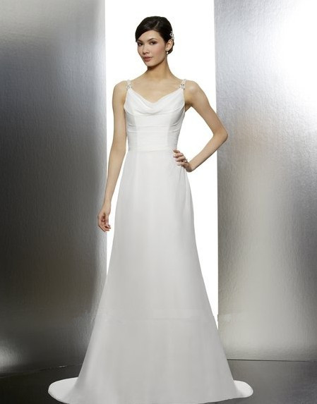 Free Shipping Dress Party Elegant Lebanon Bodice Criss-cross Chiffon Cowl Neckline Medallions Heavily Beaded Strap Wedding Dress