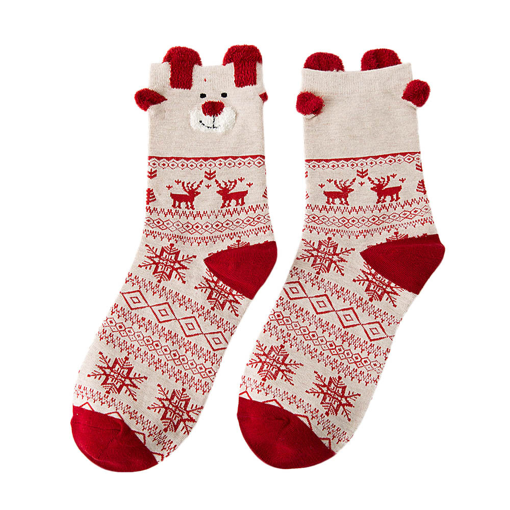 3 Pairs Christmas Women Cotton Socks Multi-Color stripe Women's Winter Socks Animal Christmas hat snowflake elk Winter Socks