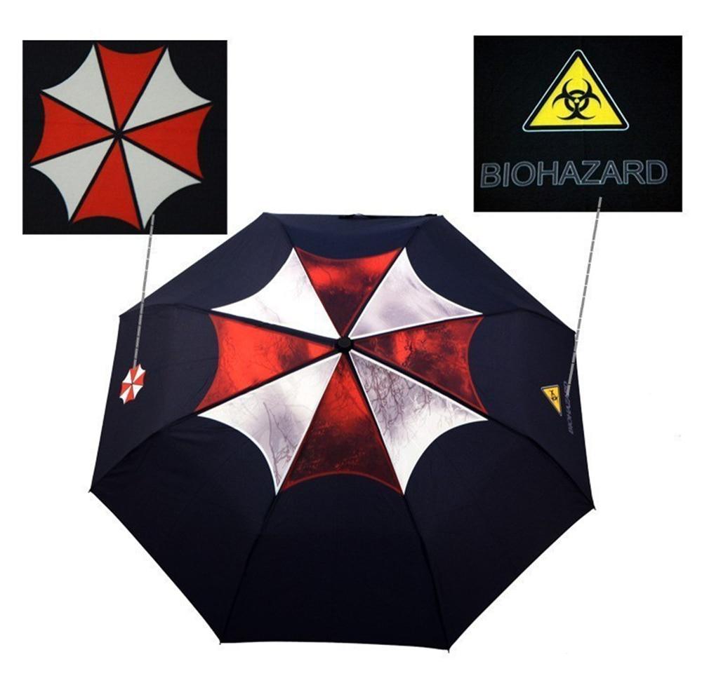 Biohazard residente umbrella corporation parapluie chuva men 3 dobrável manual paraguas hombre novidades itens