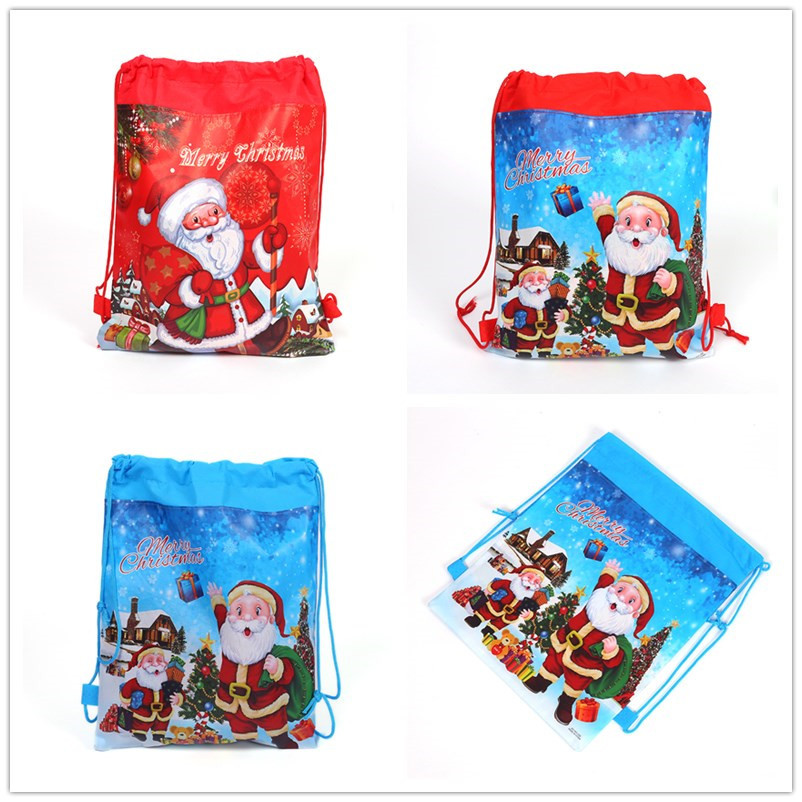 Santa Claus Double-sided Non-woven Cloth Printing Tie Bag, Toy Bag, Birthday Party Gift Bag, Birthday Party Gift Bag.
